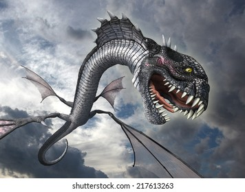 A snake dragon swoops down from the sky to attack it's prey - 3D render.