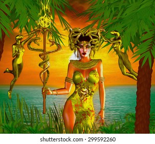 Snake Goddess. A magical, fantasy snake goddess stands in front of the sea with the setting Sun in the background.