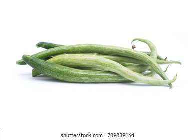 Snake gourd or Trichosanthes anguina Linn. Isolated on white background