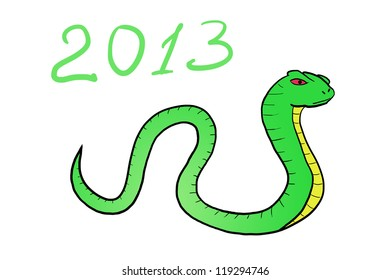 Snake. Happy new year 2013. hand-drawn