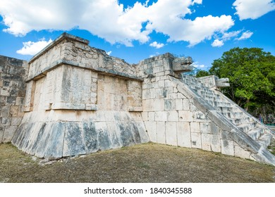 Snake heads  stone carving of The Venus Platform in the ancient Mayan ruins of Chichen Itza, Mexico