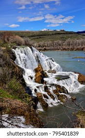 Snake River Waterfall on a clear spring day in Idaho