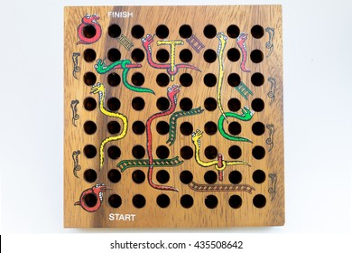 Snakes and Ladders game made by wood