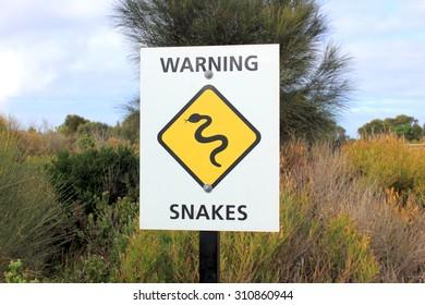 Snakes warning sign in bushland in Victoria, Australia