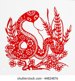 snake,The paper cutting. The Chinese Zodiac.