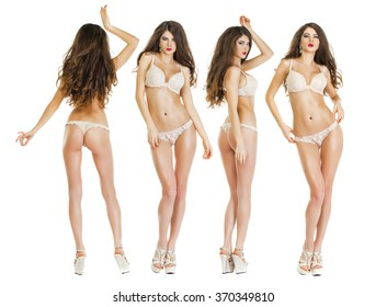 Snap Models, Collage Models. Beautiful full body brunette beauty women in sexy underwear, isolated on white background