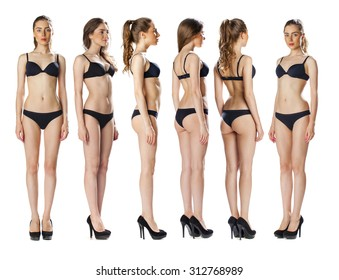 Snap Models. Full length portrait of a beautiful brunette woman in black bikini isolated on white background