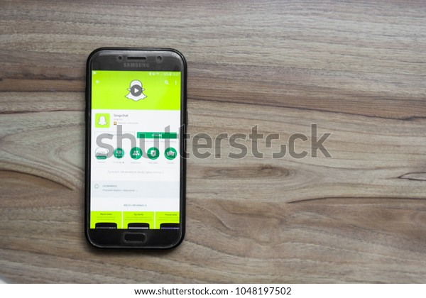 Snapchat Application Play Store On Screen Stock Photo (Edit