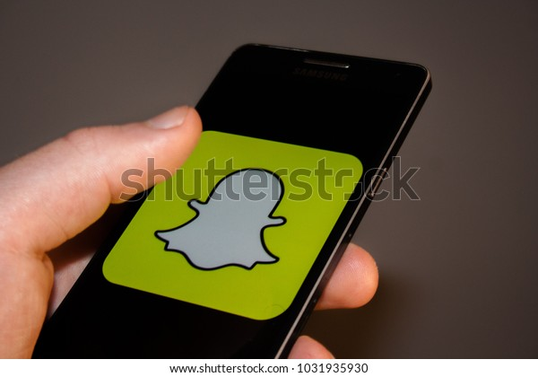 Snapchat Logo On Phone Screen Phone Stock Photo (Edit Now