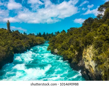 A snapshot showing off the amazing Huka Falls in Taupo New Zealand on a beautiful day