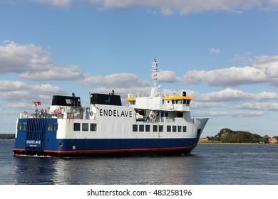 Snaptun, Denmark - September 9, 2016: Snaptun harbor near Horsens and departure of the ferry for Endelave island in Denmark