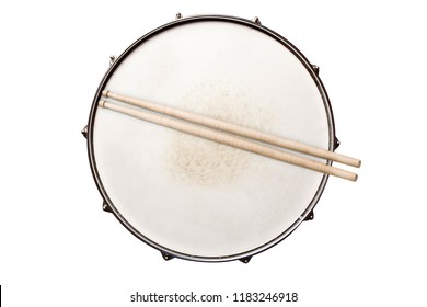 Snare drum with drumsticks top view isolated on white