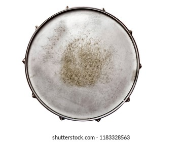 Snare drum textured top view isolated on white