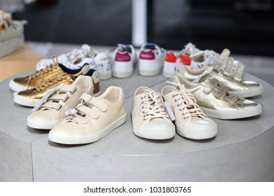 Sneaker shoes on display