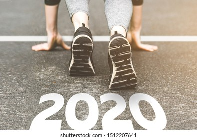 Sneakers close-up, finish 2019. Start to new year 2020 plans, goals, objectives