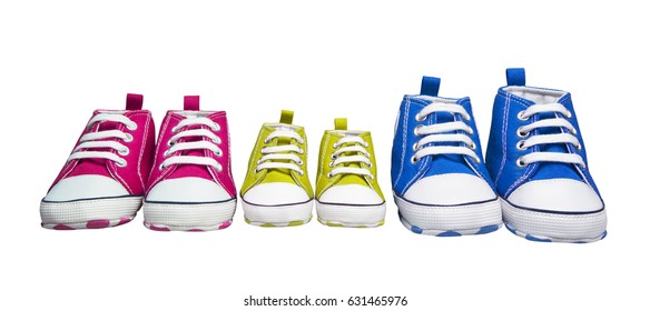 Sneakers Gumshoes, Baby Color Sport Shoes, Children Fashion Footwear for Kids, white isolated with clipping path