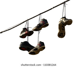 Sneakers hanging on a telephone line, urban youth joke