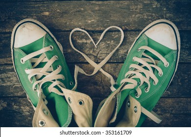 sneakers with heart with filter effect retro vintage style