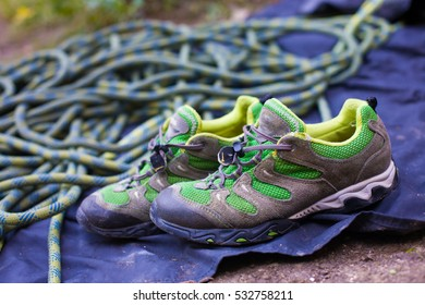 sneakers and rope for practicing extreme sports, active rest in the fresh air.
