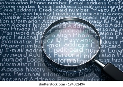 Sneaking a look at personal information. Magnifier and personal information.