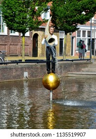 SNEEK, NETHERLANDS – JUNE 7, 2018: Fontein van Fortuna, Stephan Balkenhol Eleven fountains in the eleven Frisian cities, designed by eleven artists from different countries.