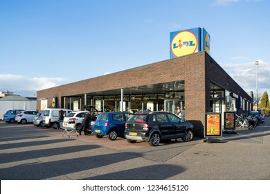 SNEEK, THE NETHERLANDS - NOVEMBER 2, 2018: Lidl branch. Lidl is the largest discount supermarket chain in Europe.
