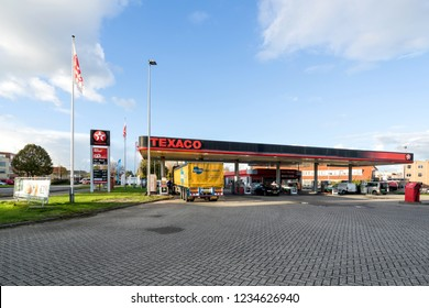 SNEEK, THE NETHERLANDS - NOVEMBER 2, 2018: Texaco gas station. Texaco is an American oil subsidiary of Chevron Corporation.