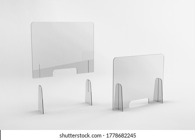 Sneeze guards, social distancing barriers and shields.