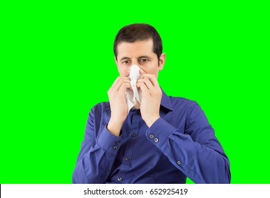 sneezing businessman sick blowing nose isolated cutout on green background with chroma key