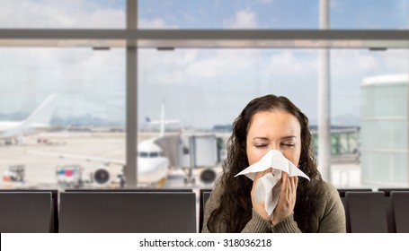 sneezing woman sick blowing nose with white background