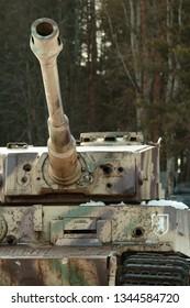 SNEGIRI SETTLEMENT, ISTRA DISTRICT, MOSCOW REGION, RUSSIA MARCH 21, 2019. German battle tank 510th heavy tank battalion in 2nd World War Tiger, Panzerkampfwagen VI in the snow under the trees.