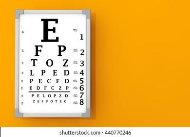 Snellen Eye Chart Test Box in front of orange wall. 3d Rendering