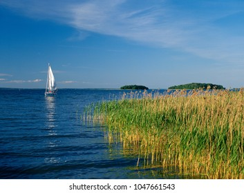 Sniardwy Lake, Masuria region (Mazury), Poland - July, 2005: sailboat on Sniardwy lake