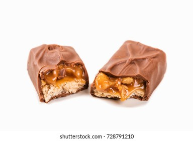 Snickers bar isolated on white background.