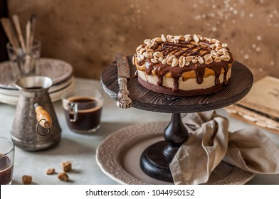 Snickers Chocolate, Caramel, Nougat and Peanut Layered Cake