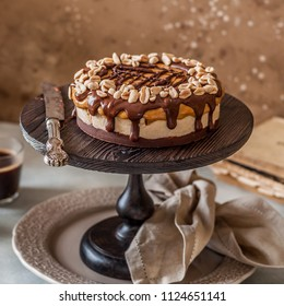 Snickers Chocolate, Caramel, Nougat and Peanut Layered Cake, square