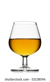 Snifter glass of brandy isolated over white background