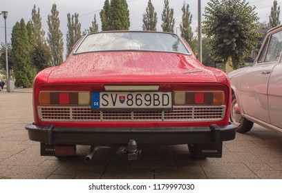 Snina, Slovakia - 14 September 2018: Back of Skoda 110R Classic Car at Historical Car Meet Free to Public
