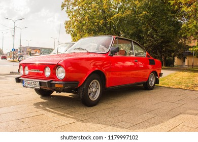 Snina, Slovakia - 14 September 2018: Skoda 110R Classic Car at Historical Car Meet Free to Public