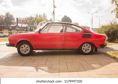 Snina, Slovakia - 14 September 2018: Side View of Skoda 110R Classic Car at Historical Car Meet Free to Public