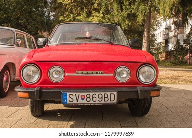 Snina, Slovakia - 14 September 2018: Front of Skoda 110R Classic Car at Historical Car Meet Free to Public