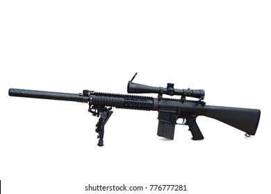 Sniper Aim the camera  scopes mounted rifle gun isolated on white background.