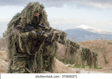 Sniper ghillie stand and target recognise