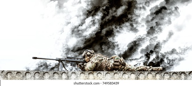 Sniper with large caliber rifle in action on the roof of riuned building