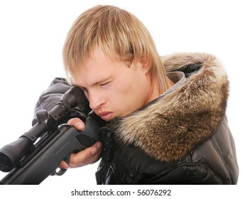 Sniper with rifle aims, isolated on white background.