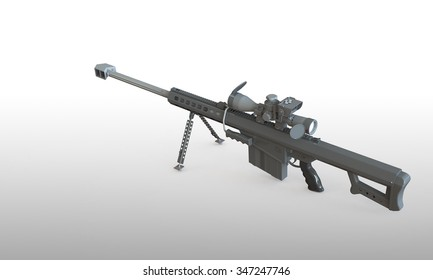 sniper rifle isolated on white. With telescopic scope standing on a  flat surface. The Rifle is load and ready to fire
