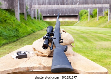 sniper rifle on gun range