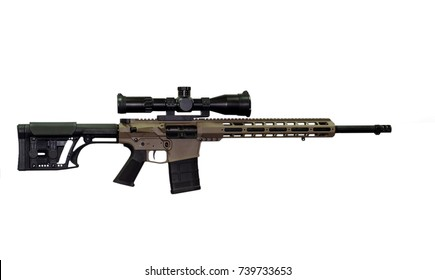 Sniper rifle on white background