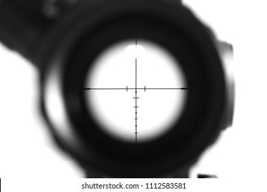 Sniper-scope-Gewehre einzeln auf weißem Hintergrund