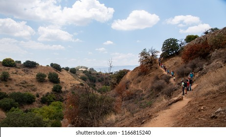 Snir, The Golan Hights,Israel, Jul 07 2018: Group of Tourists Walking down for a trip in the golan hights